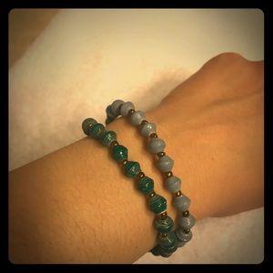Rolled paper beaded bracelets
